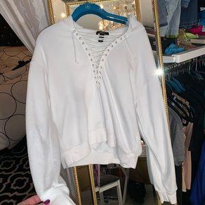 White tie up lace up hoodie sweatshirt